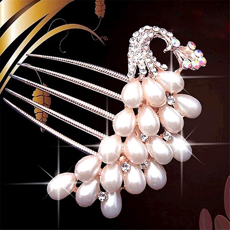 Bride Hairpin Peacock Pearl Flowers Wedding Crystal Rhinestone Pearl Flower Hairpin Diamante Clip Hair Comb Pin Comb 6