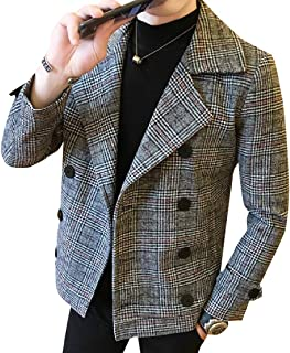 Tootess メンズウールブルゾンチェックノットラペルトレンチコートジャケット