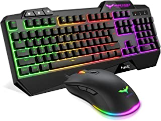 Havit Rainbow Backlit Wired Gaming Keyboard Mouse Combo, LED 104 Keys USB Ergonomic Wrist Rest Keyboard, 4800DPI 6 Button ...