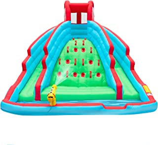 Deluxe Inflatable Water Slide Park – Heavy-Duty Nylon Bouncy Station for Outdoor Fun - Climbing Wall, Two Slides & Splash Pool – Easy to Set Up & Inflate with Included Air Pump & Carrying Case
