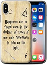 Phone Case for Apple iPhone Xs School of Magic Film Quotes Happiness/Darkest Times Design Transparent Clear Ultra Slim Thin Hard Back Cover