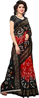 ETHNICMODE USA Pakistani Art Silk Kalamkari and Bhagalpuri Style Saree with Blouse Piece Bandhani 26