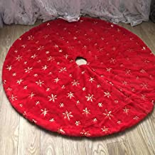 DegGod Plush Christmas Tree Skirts, 36 inches Luxury Red Faux Fur Xmas Tree Base Cover Mat with Gold Snowflakes for Xmas N...