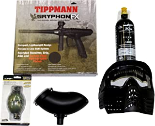 Tippmann Gryphon FX Carbon Fiber Package .68Cal Paintball Kit Includes Sentry Goggle, Empty 20oz Co2 Tank, 200Rd Loader & M8 Paint Grenade