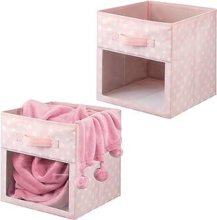 mDesign boîte de rangement en fibre synthétique (lot de 2) – caisse de rangement pour affaires d'enfants, couvertures, et...
