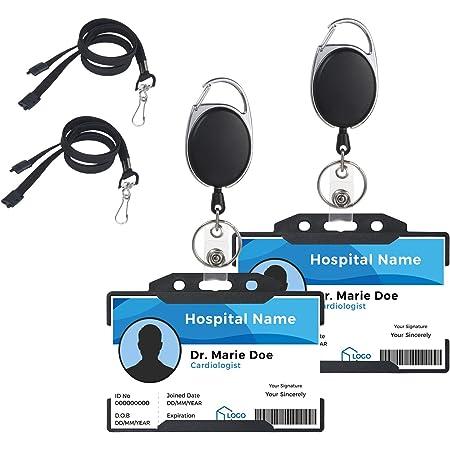 Vicloon 2Pack Porte-badge avec Yoyo et Cordon Résistant avec Courroie de Cou de Lanière,Protection de Vos Badges Carte de Visite,Carte d'étudiants et Carte Bus de la Marque