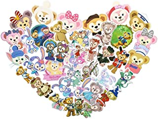 50pcs Duffy Bear and Ballet Rabbit Cartoon Anime Stickers Laptop Computer Bedroom Wardrobe Car Skateboard Motorcycle Bicycle Mobile Phone Luggage Guitar DIY Decal for Kids and Teens (Bear and Rabbit)