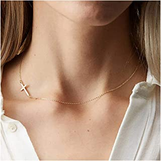 itianxi Dainty Cross Charm Pendant Necklaces,14K Gold Tiny Three Ball Necklace,Simple Jewelry for Women