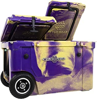 WYLD 50 Quart Dual-Compartment Insulated (Purple/Gold) Cooler w/Wheels & Tap Kit! Aerator Port Kit & Rod Holder Available for Camping Fishing Boating & Tailgating
