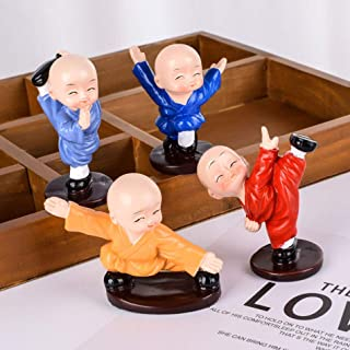 TiedRibbons Tied Ribbons Set of 4 Kung fu Buddha Monks Statues Figurines Showpiece for Wall Shelf Table Desktop Living Roo...