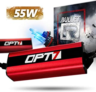 OPT7 Bullet-R 9007 Hi-Lo 55W HID Kit - 3x Brighter - 4x Longer Life - All Bulb Sizes and Colors - 2 Yr Warranty [10000K Deep Blue Xenon Light]