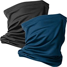 2 Pack Neck Gaiter Scarf Reusable Face Bandanas Tube UV Protection Headwear Balaclava Outdoor Sport for Men and Women