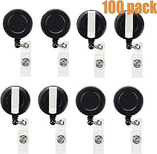 100 Pcs Black Retractable Badge Reels for School Office