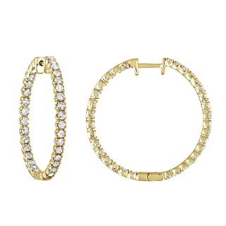 2 cttw Diamond Hoop Earrings Inside Out 14K Yellow Gold 1.25 Inches