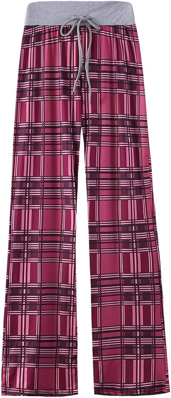 Plaid Pants for Women Comfy Palazzo Pants Drawstring Elastic Waist Wide Leg Lounge Bottoms Pajama Casual Trousers