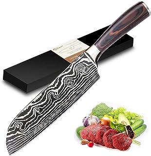 Joyspot Couteau de Cuisines, Couteau Japonais Santoku,17cm Professionnelle Couteau de Chef en German Haute Teneur Acier Ca...