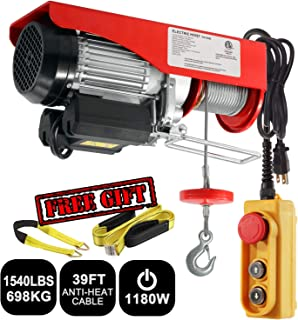 Partsam 1540 lbs Lift Electric Hoist Crane Remote Control Power System, Zinc-Plated Steel Wire Overhead Crane Garage Ceiling Pulley Winch w/Premium Straps (UL/CUL Approval, w/Emergency Stop Switch)
