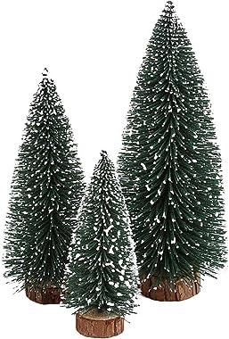 kowaku Juego de 2 Piezas de árbol de Navidad de Abeto Artificial Premium con Base de Madera de árbol de Navidad