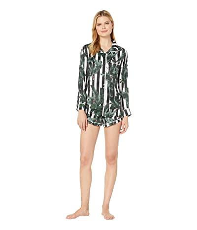 Plush Silky Striped Jungle Print Long Sleeve Shorts Pajama Set (Black/White Striped Jungle) Women