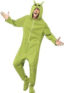Smiffy'S 55004L Disfraz De Extraterrestre Con Traje Entero Con Capucha, Verde, L - Tamaño 42