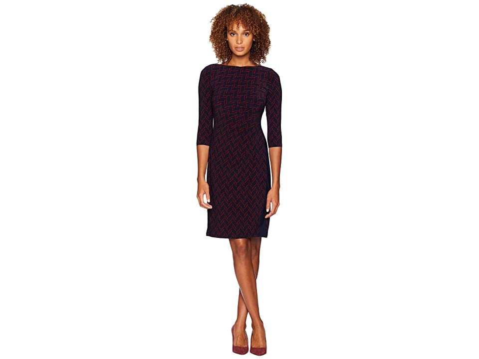 LAUREN Ralph Lauren Boule Abstract Drewly 3/4 Sleeve Day Dress (Lighthouse Navy/Vibrant Garnet) Women