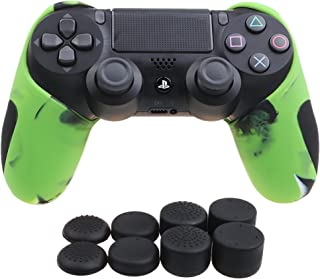 YoRHa Silicone Half extra Thick Cover Skin Case for Sony PS4/slim/Pro Dualshock 4 controller x 1(camouflage green) With Pro thumb grips x 8