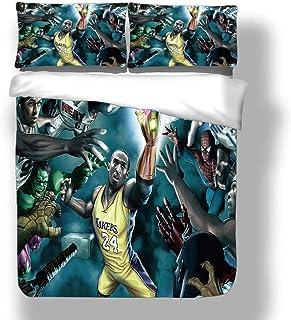 Juego de funda nórdica Kobe Los Angeles Basketball Player 24 ropa de cama Black Mamba Bryant Lakers Super Star Wing Colcha de regate detrás de la espalda con 2 fundas de almohada Purple Gold Dynasty