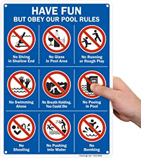 SmartSign Pool Rules Sign - Have Fun, But Obey Our Pool Rules (with Graphics), 10 x 14 Inches, 40 Mil Thick Aluminum, Lami...