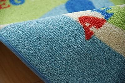 イケヒコ デスクカーペット ラグ 1畳 男の子 世界地図柄 ワールド ブルー 約110×133cm #9800820