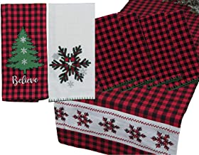 Red and Black Tartan Buffalo Plaid Winter Themed Kitchen Linen Set: Bundle Includes (1) Table Runner, (4) Napkins and (2) ...