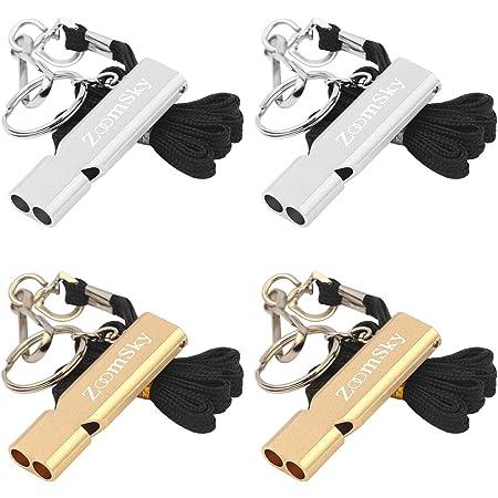 Pendentif Porte-cl/és Sifflet /équipement de sifflet de Survie en Plein air /à Double Tube sifflet de Survie /à Double fr/équence en Alliage daluminium Plat