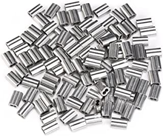 eBoot 100 Pieces Aluminum Crimping Loop Sleeve for 1/16 Inch Diameter Wire Rope and Cable