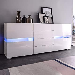 mecor Sideboard Cabinet Buffet w/LED Light,Kitchen Sideboard and Storage Cabinet/TV Stand High Gloss LED Dining Room Server Console Table 2 Doors & 4 Drawers White