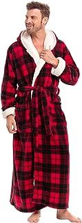 Alexander Del Rossa Men's Warm Fleece Robe with Hood, Big and Tall Sherpa Contrast Bathrobe