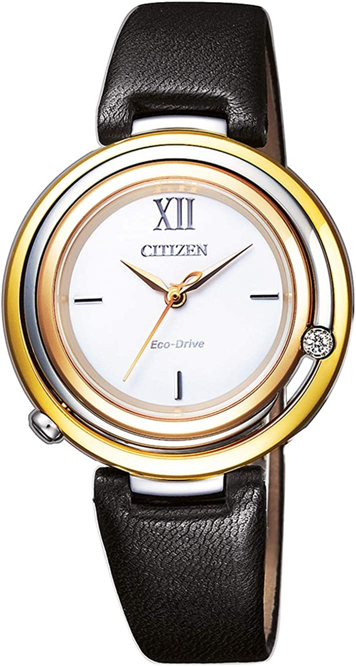Deluxe Citizen Diamond White Dial Reservation Black Leather Watch Ladies EM0656-15A