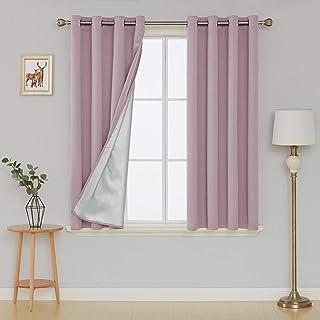 Deconovo Cortinas Opacas con Aislamiento Térmico con Ojales para Dormitorio y Salón 135 x 180 cm Rosa Claro