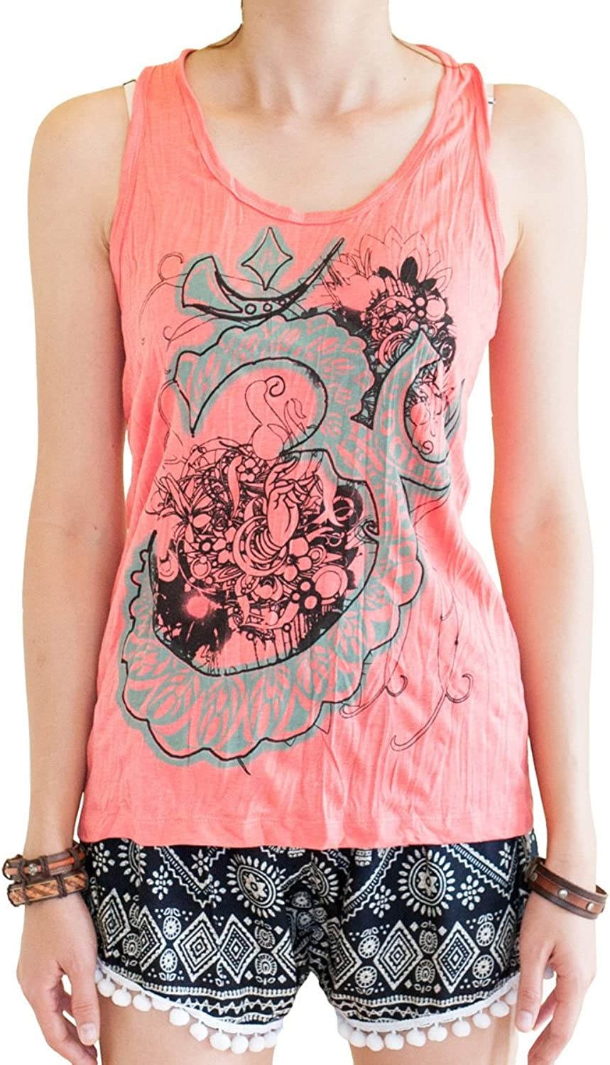 BohoHill Women's Yoga Shirt Om Flower Casual Tank Top Vest Coral Pink