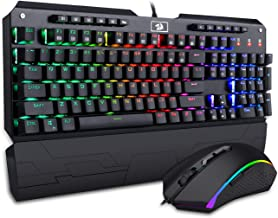 Redragon K555-RGB-BA Mechanical Gaming Keyboard and Mouse Combo Wired RGB LED Backlit, Macro Keys, Wrist Rest Keyboard & 5000 DPI Mouse for Windows PC Gamers (104 Key Wristrest Keyboard Mouse Set)