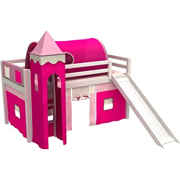 Cama de juego,cama para niños,de alta,cama con tobogan,torre,tunel,2 x bolsillos,cortinas,colchón,muchos colores: Amazon.es: Bebé