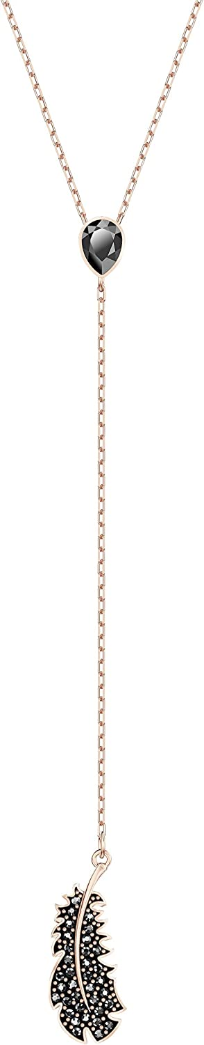SWAROVSKI Women's Naughty Necklace and Earrings Collection, Rose Gold Tone Finish, Black/Clear Crystals