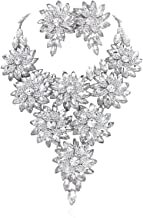 SP Sophia Collection Austrian Crystal Daisy Floral Vine Necklace and Clip On Earring Jewelry Set
