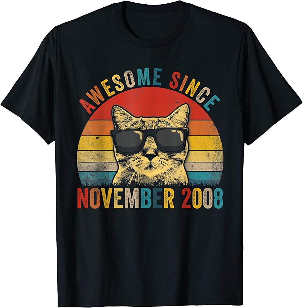 Awesome Since November Cat Lover 2008 11th Birthday Gift T-shirt