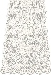 KEPSWET Sunflower Rectangle Handmade Crochet Lace Table Runner Floral Wedding Decoration (14x60 inch, Beige)