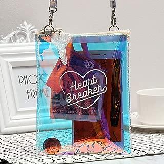 Gimax Top-Handle Bags - Luxury Handbags Women Bags Designer PurseTransparent Laser Holographic Messenger Bag Flap Sweet Heart Clear Jelly Handbag - (Size: Mini(Max Length<20cm))