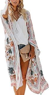 Women's Chiffon Long Kimono Sheer Loose Cardigan Lightweight Breathable Cover ups