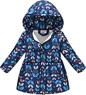 Lurryly❤Girls Boys Warm Winter Floral Butterfly Windproof Coat Jacket Outerwear Hooded 1-6T