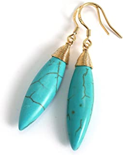 Natural Stone Wire Wrap Dangle Drop Earrings Gold Plated 925 Sterling Silver Hook/Turquoise Ellipse 30mm