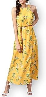Zima Leto - Maxi abito da donna con cintura e motivo floreale, colore: Giallo