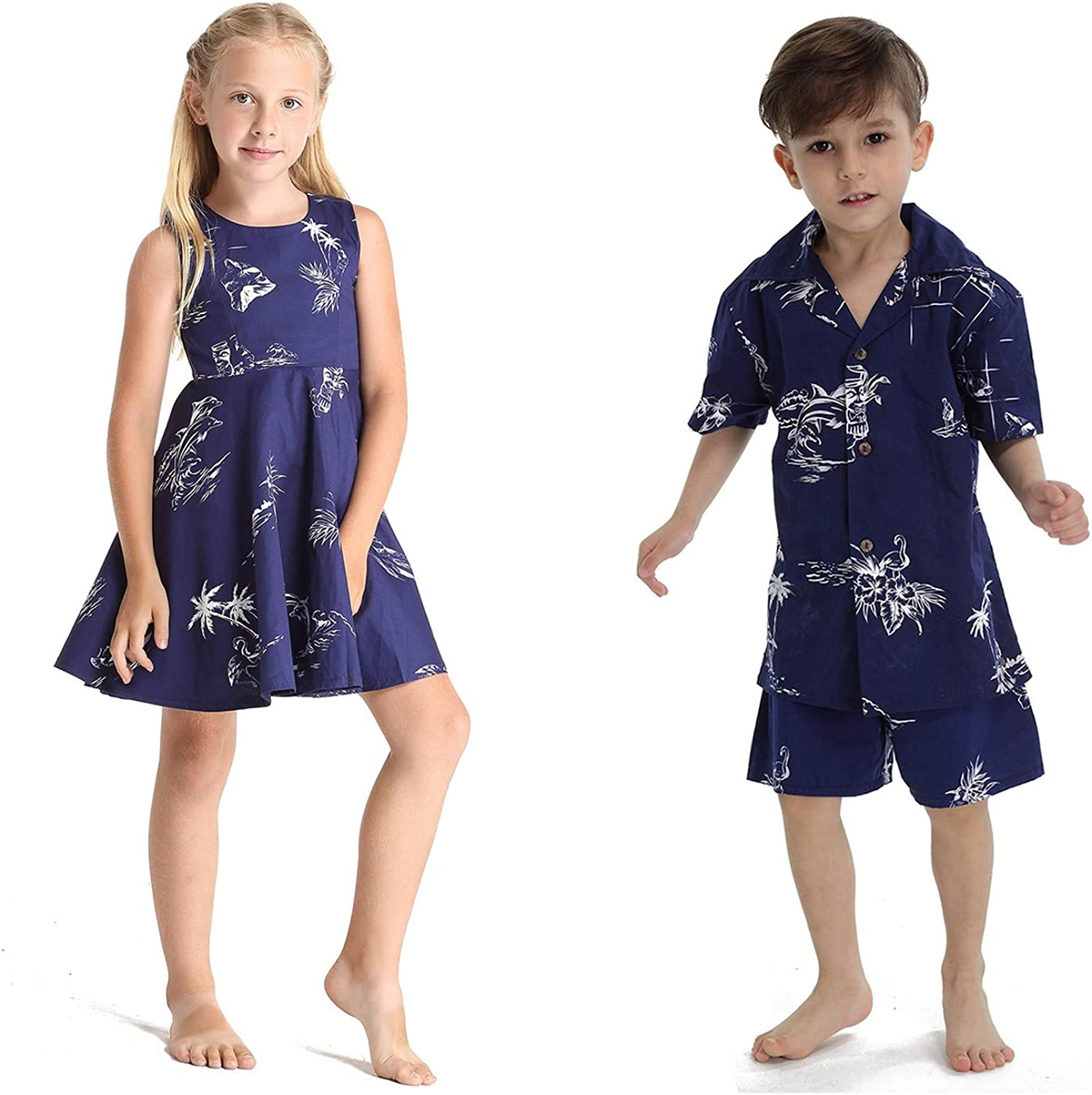 Matching Boy and Girl Siblings Classic Cheap mail Max 80% OFF order specialty store Luau Hawaiian Map Outfits