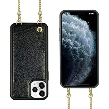iPhone 11 Pro Max Crossbody Case, JLFCH iPhone 11 Pro Max Wallet Case with Card Slot Credit Card Holder Crossbody Strap Shoulder Chain Cover for Apple iPhone 11 Pro Max 6.5 inch - Black